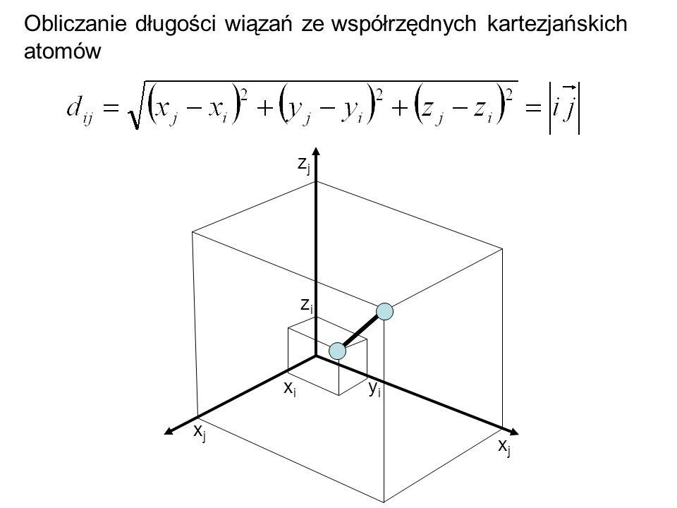 Obliczanie długości wiązań ze współrzędnych kartezjańskich atomów
