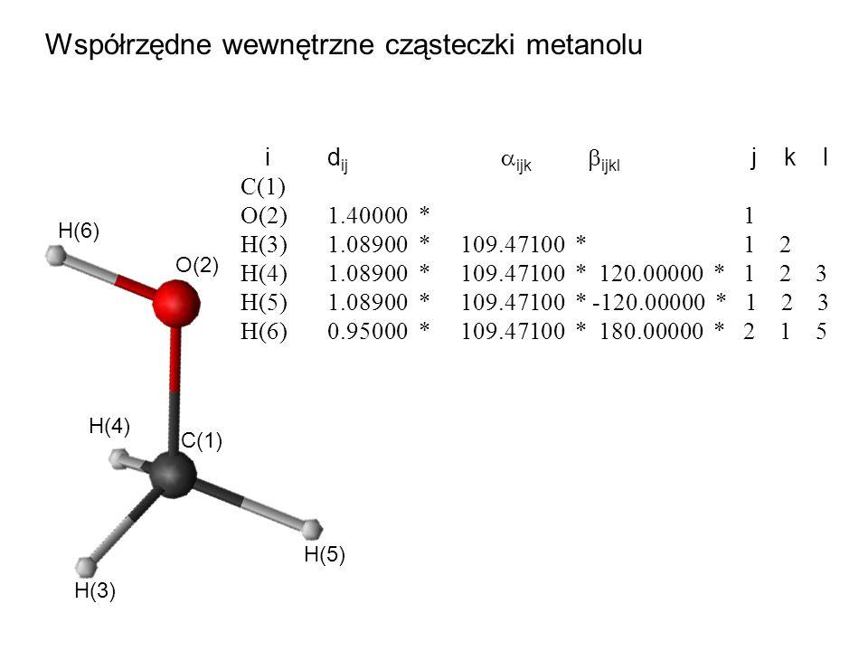 Współrzędne wewnętrzne cząsteczki metanolu