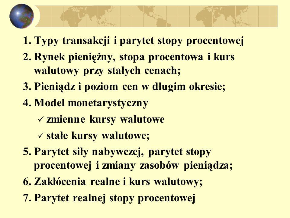 1. Typy transakcji i parytet stopy procentowej