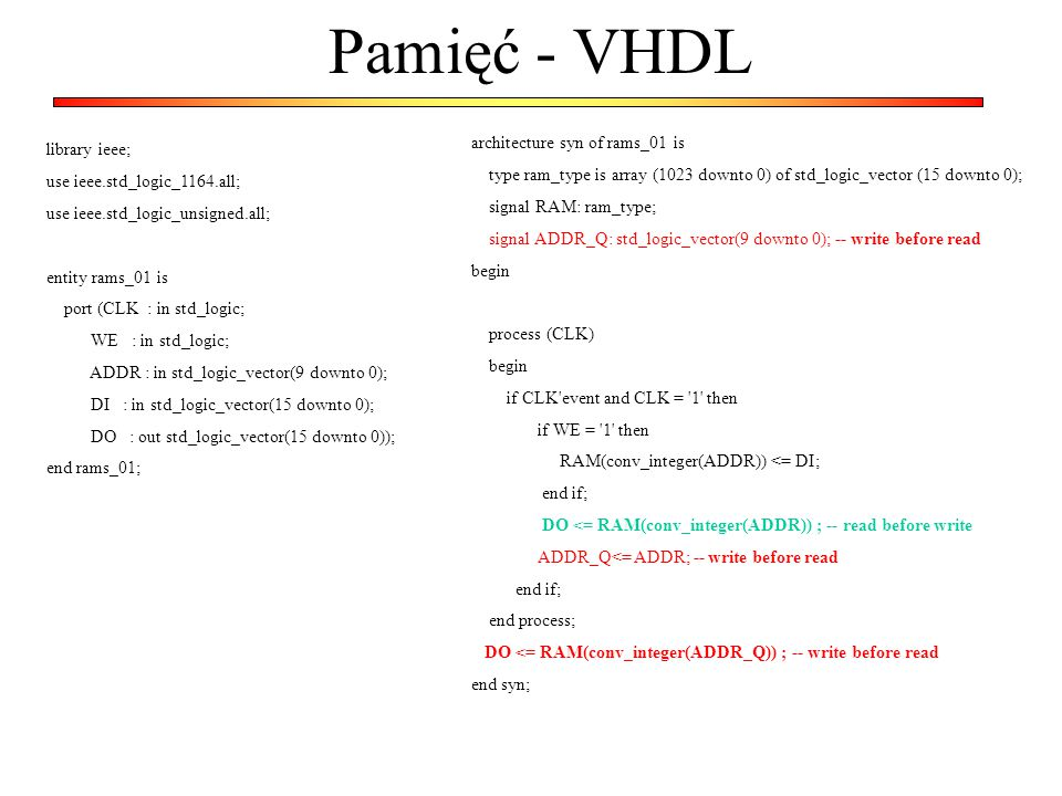 Pamięć - VHDL architecture syn of rams_01 is library ieee;