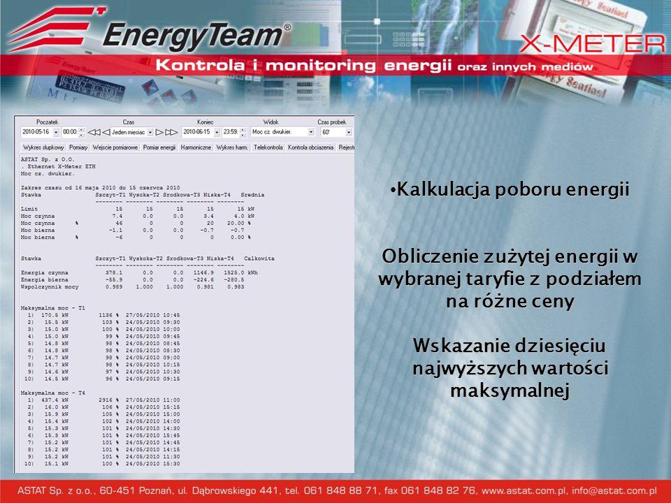 Kalkulacja poboru energii Obliczenie zużytej energii w wybranej taryfie z podziałem na różne ceny Wskazanie dziesięciu najwyższych wartości maksymalnej