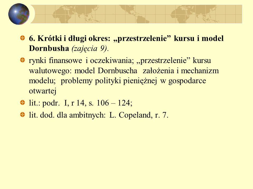 """6. Krótki i długi okres: """"przestrzelenie kursu i model Dornbusha (zajęcia 9)."""