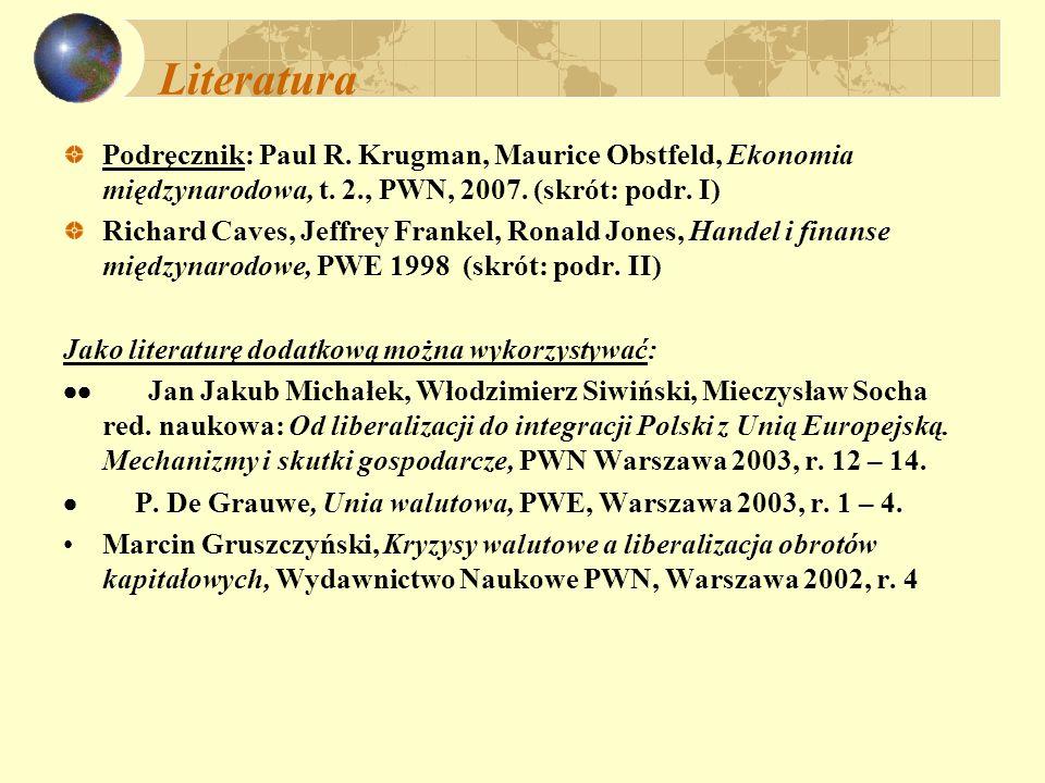 Literatura Podręcznik: Paul R. Krugman, Maurice Obstfeld, Ekonomia międzynarodowa, t. 2., PWN, 2007. (skrót: podr. I)