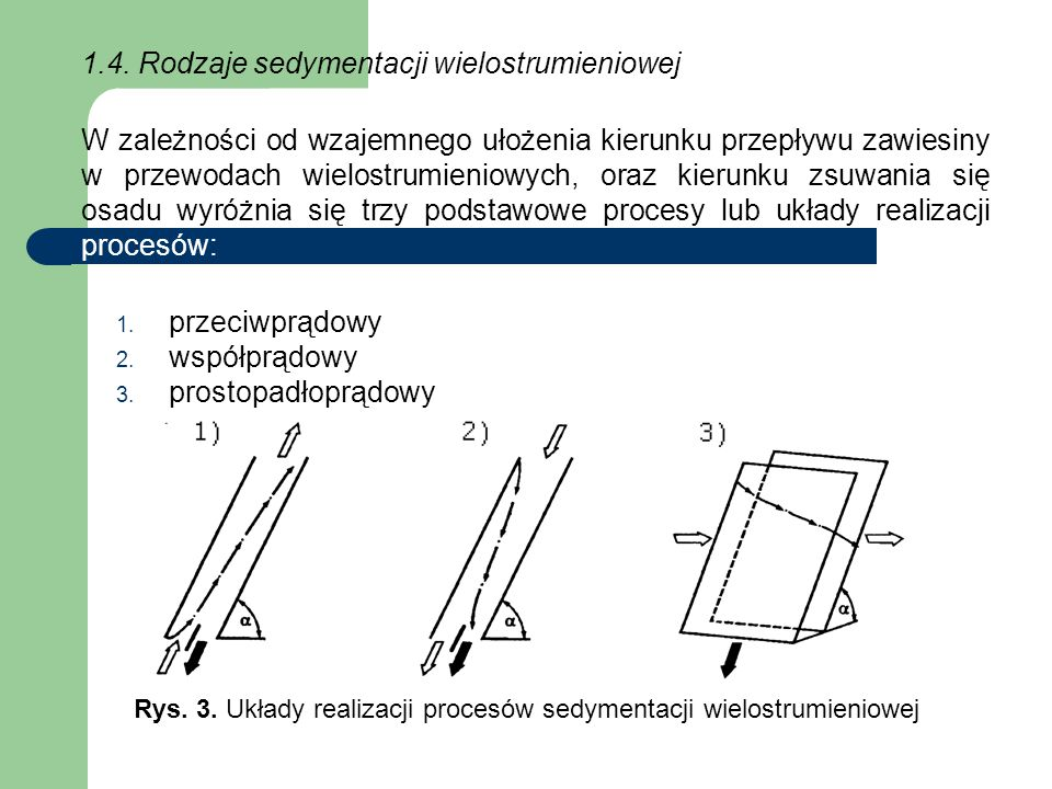 Rys. 3. Układy realizacji procesów sedymentacji wielostrumieniowej