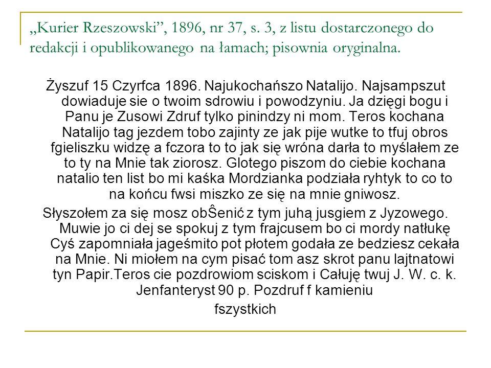 """""""Kurier Rzeszowski , 1896, nr 37, s"""