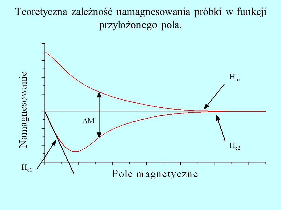 Teoretyczna zależność namagnesowania próbki w funkcji przyłożonego pola.