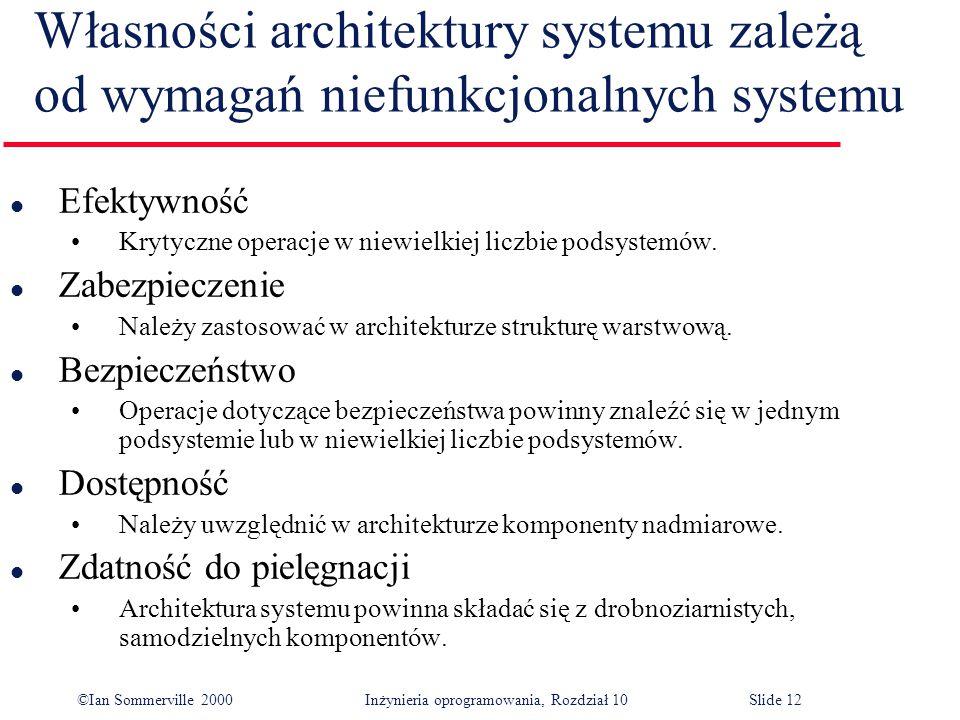 Własności architektury systemu zależą od wymagań niefunkcjonalnych systemu