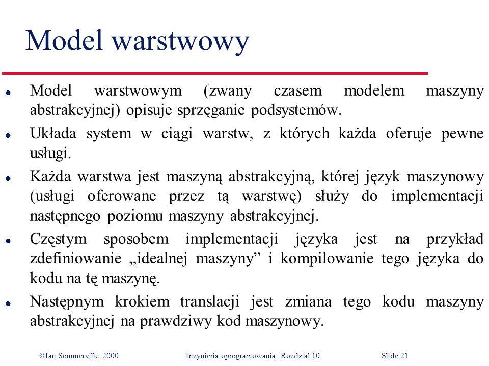 Model warstwowy Model warstwowym (zwany czasem modelem maszyny abstrakcyjnej) opisuje sprzęganie podsystemów.