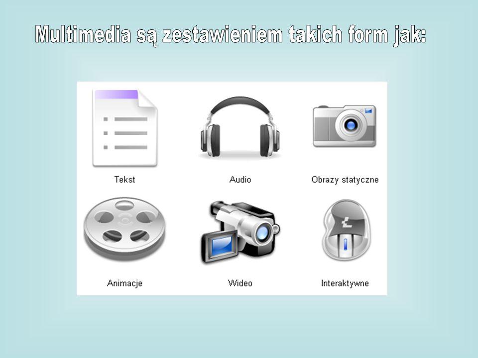 Multimedia są zestawieniem takich form jak: