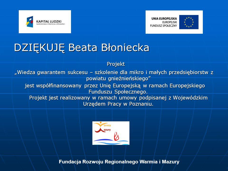 DZIĘKUJĘ Beata Błoniecka Projekt