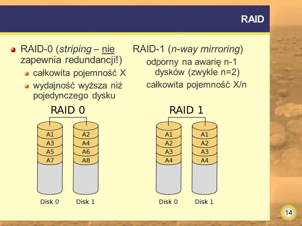 RAID-0 (striping – nie zapewnia redundancji!) RAID-1 (n-way mirroring)
