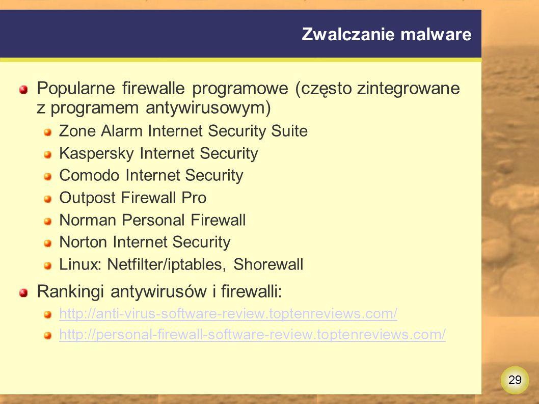 Rankingi antywirusów i firewalli: