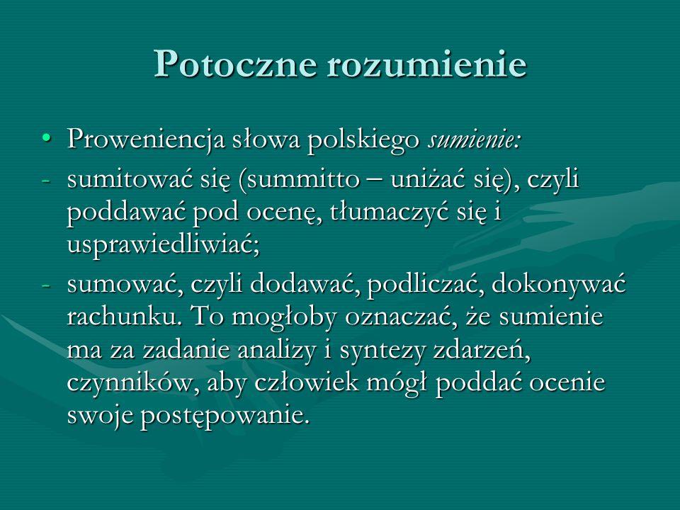 Potoczne rozumienie Proweniencja słowa polskiego sumienie: