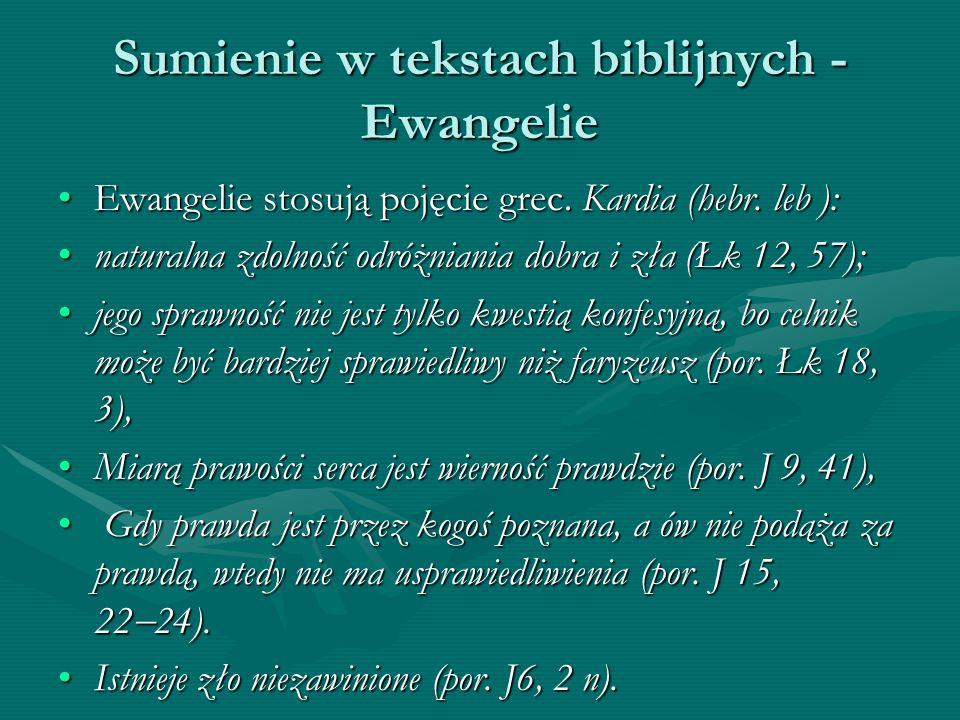 Sumienie w tekstach biblijnych - Ewangelie