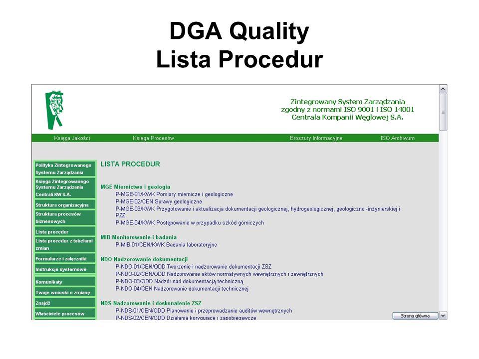 DGA Quality Lista Procedur