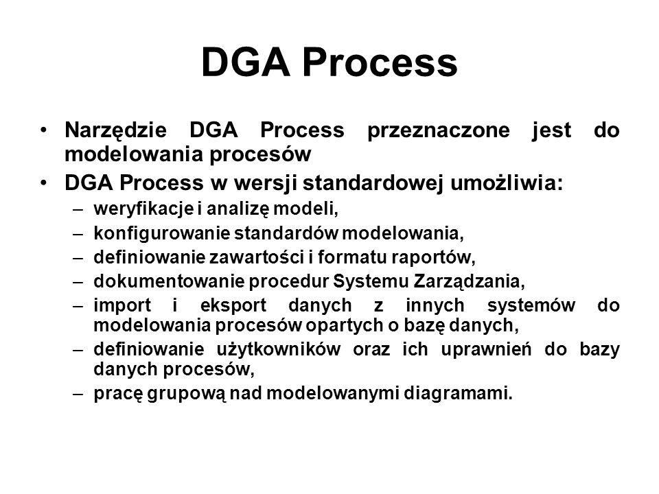 DGA Process Narzędzie DGA Process przeznaczone jest do modelowania procesów. DGA Process w wersji standardowej umożliwia: