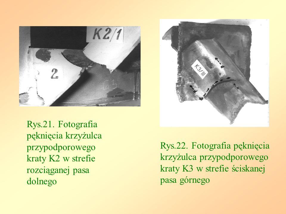 Rys.21. Fotografia pęknięcia krzyżulca przypodporowego kraty K2 w strefie rozciąganej pasa dolnego