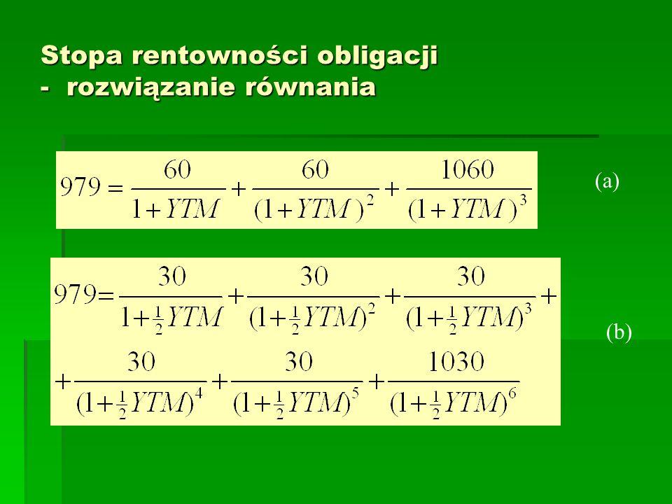 Stopa rentowności obligacji - rozwiązanie równania