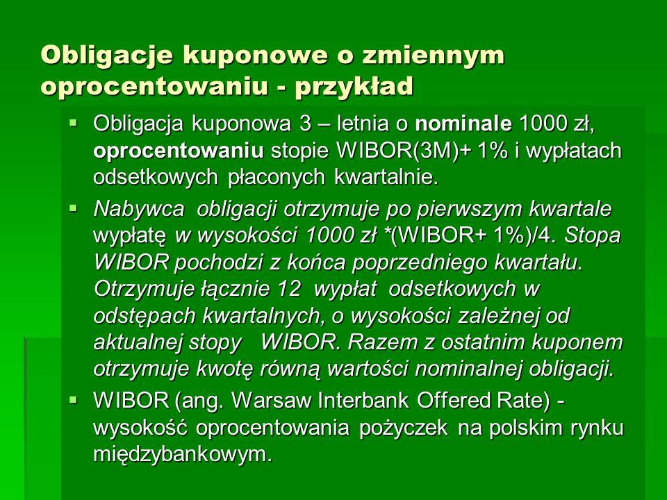 Obligacje kuponowe o zmiennym oprocentowaniu - przykład