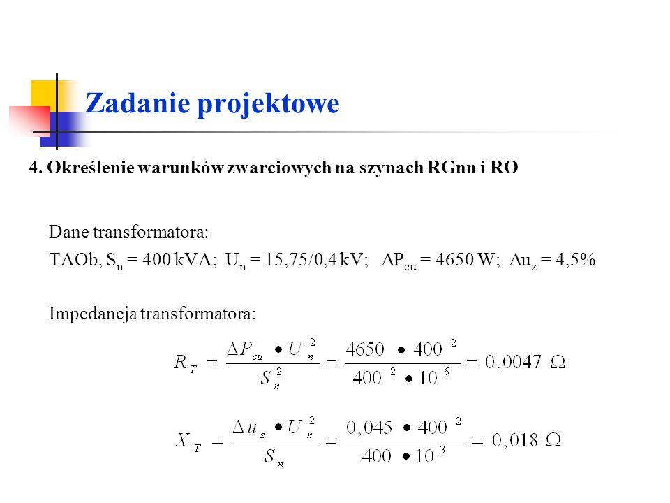Zadanie projektowe Dane transformatora: