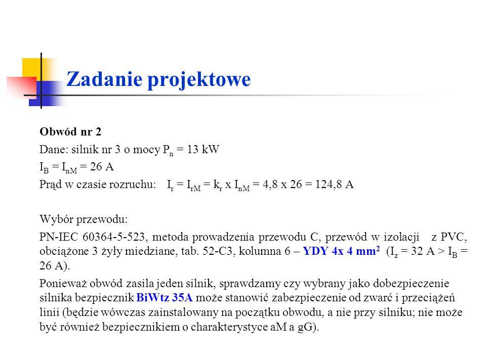 Zadanie projektowe Obwód nr 2 Dane: silnik nr 3 o mocy Pn = 13 kW