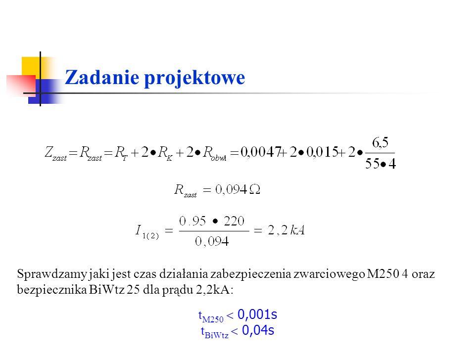 Zadanie projektowe tM250  0,001s tBiWtz  0,04s