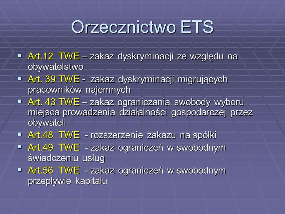 Orzecznictwo ETS Art.12 TWE – zakaz dyskryminacji ze względu na obywatelstwo. Art. 39 TWE - zakaz dyskryminacji migrujących pracowników najemnych.