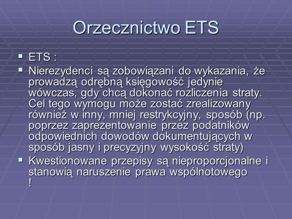 Orzecznictwo ETS ETS :