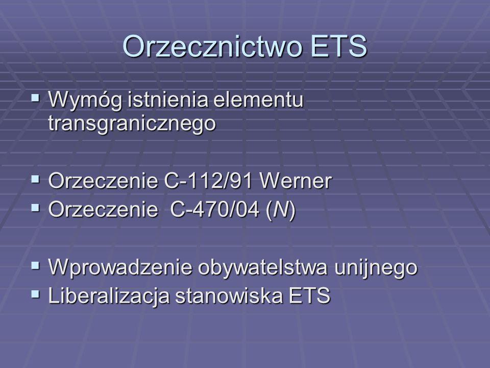Orzecznictwo ETS Wymóg istnienia elementu transgranicznego
