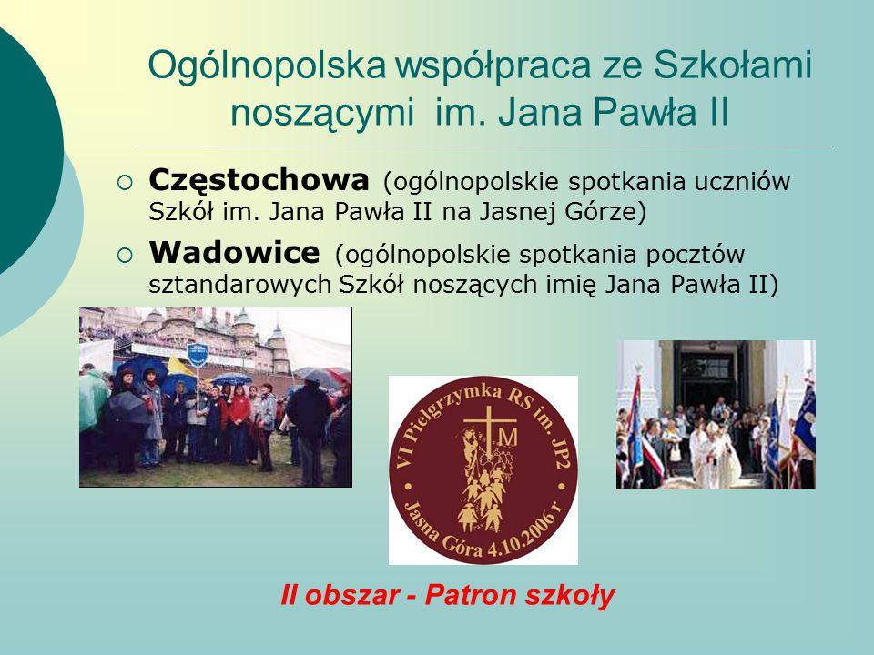 Ogólnopolska współpraca ze Szkołami noszącymi im. Jana Pawła II