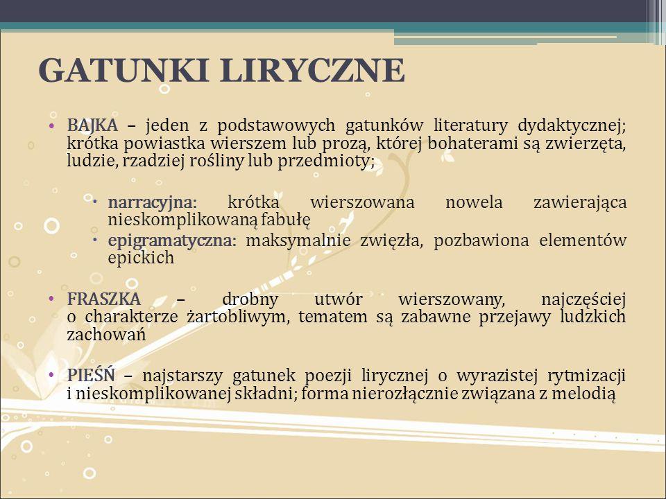 GATUNKI LIRYCZNE