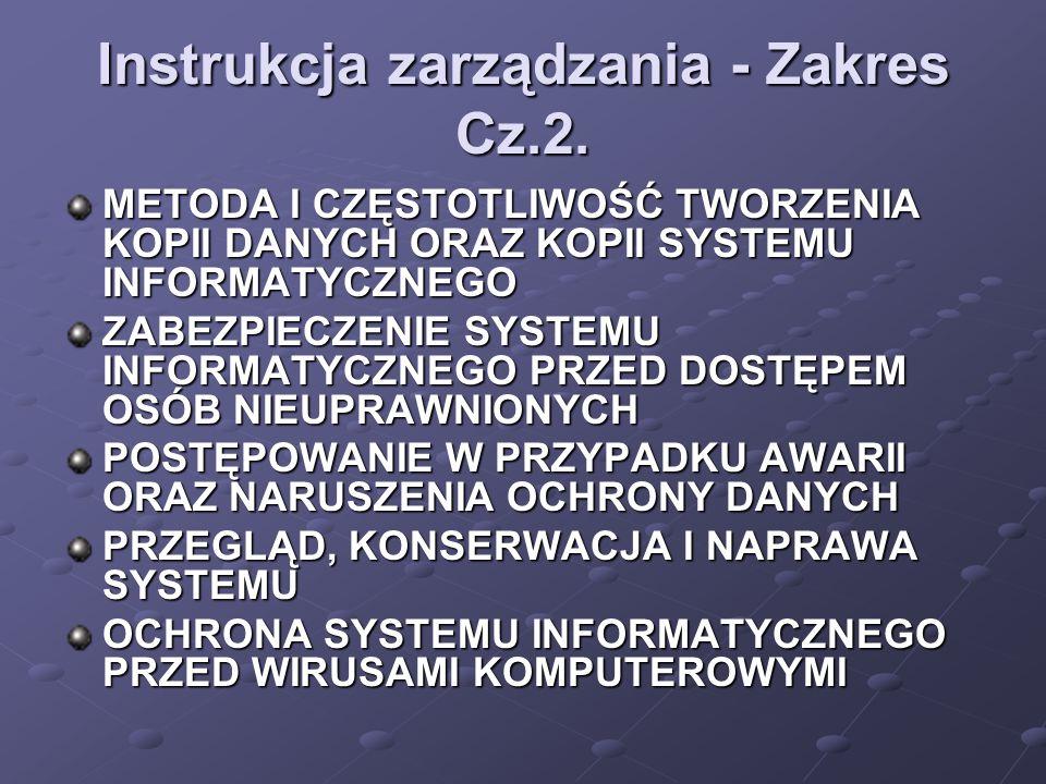 Instrukcja zarządzania - Zakres Cz.2.
