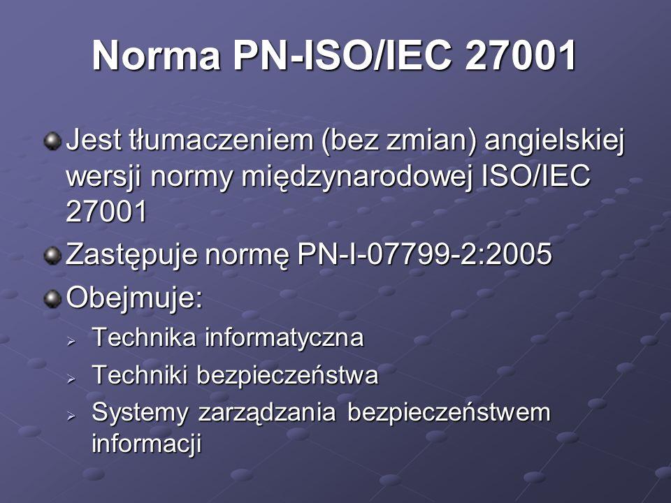 Norma PN-ISO/IEC 27001 Jest tłumaczeniem (bez zmian) angielskiej wersji normy międzynarodowej ISO/IEC 27001.