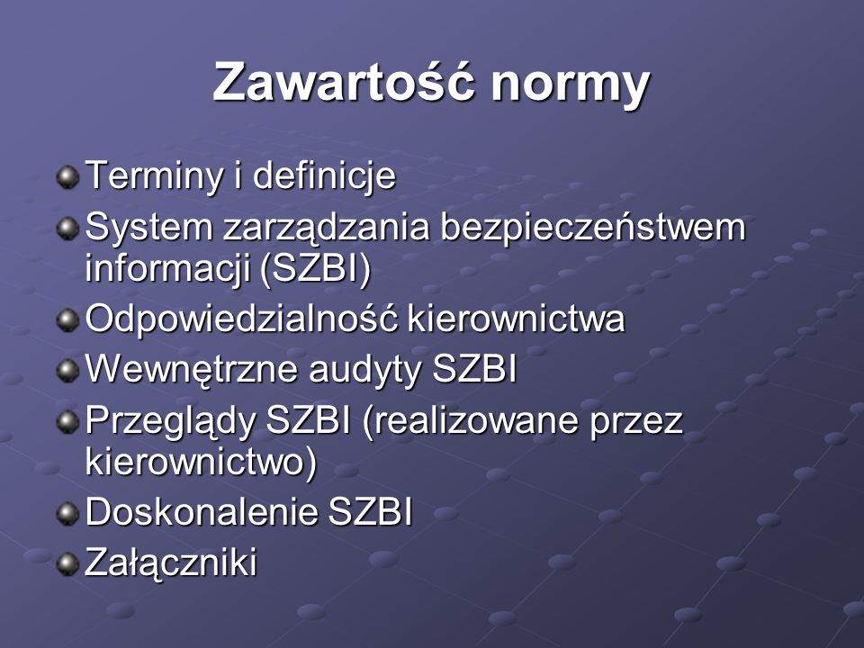 Zawartość normy Terminy i definicje