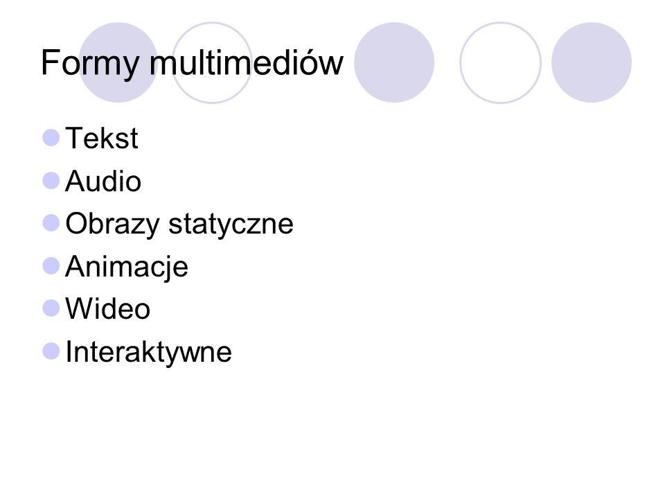 Formy multimediów Tekst Audio Obrazy statyczne Animacje Wideo