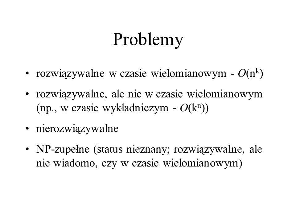 Problemy rozwiązywalne w czasie wielomianowym - O(nk)