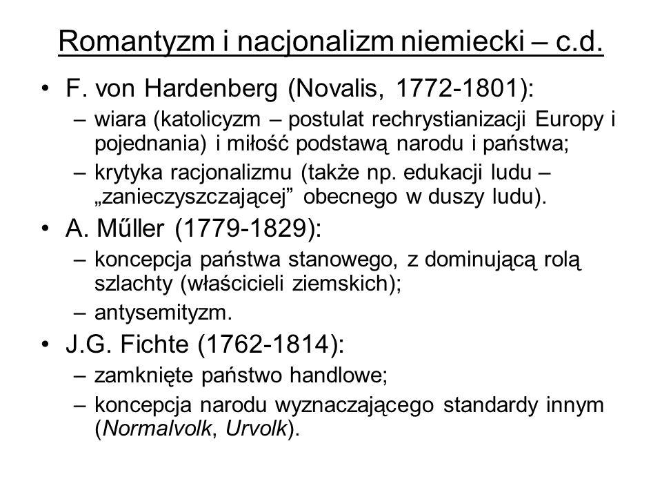 Romantyzm i nacjonalizm niemiecki – c.d.