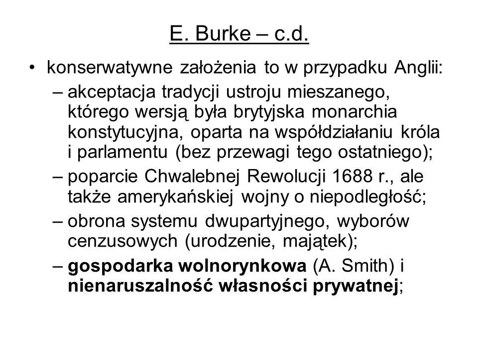E. Burke – c.d. konserwatywne założenia to w przypadku Anglii: