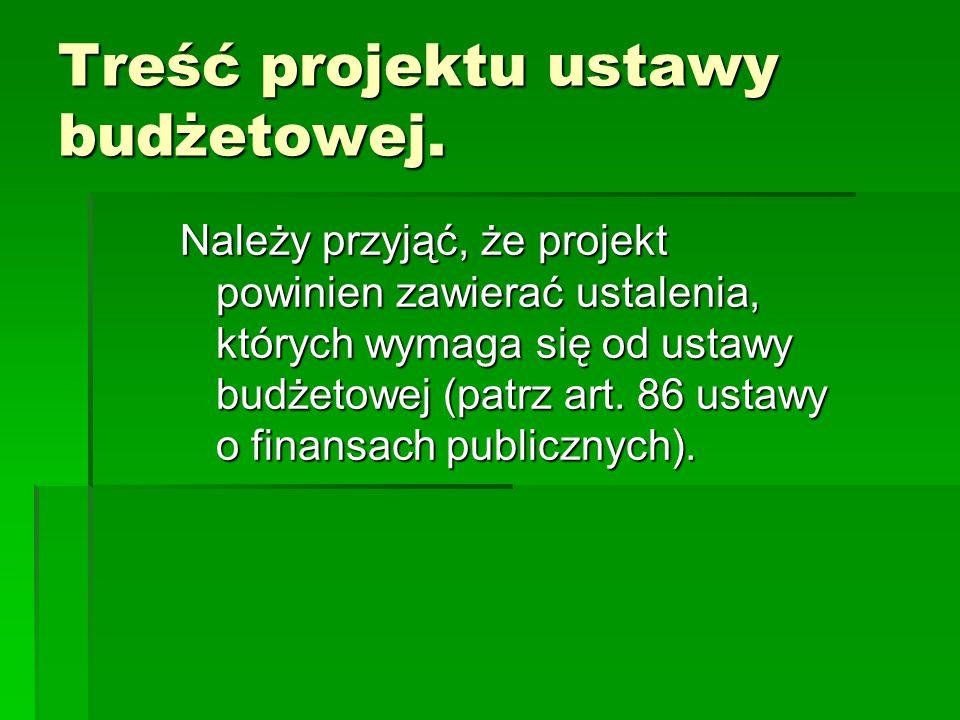 Treść projektu ustawy budżetowej.