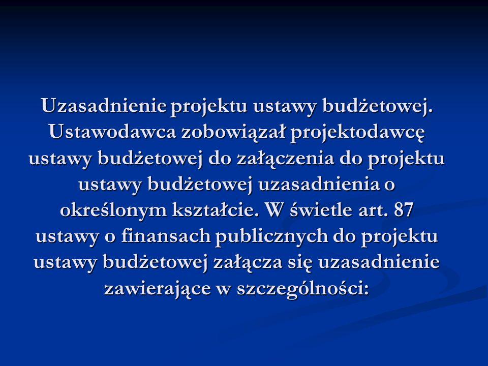 Uzasadnienie projektu ustawy budżetowej