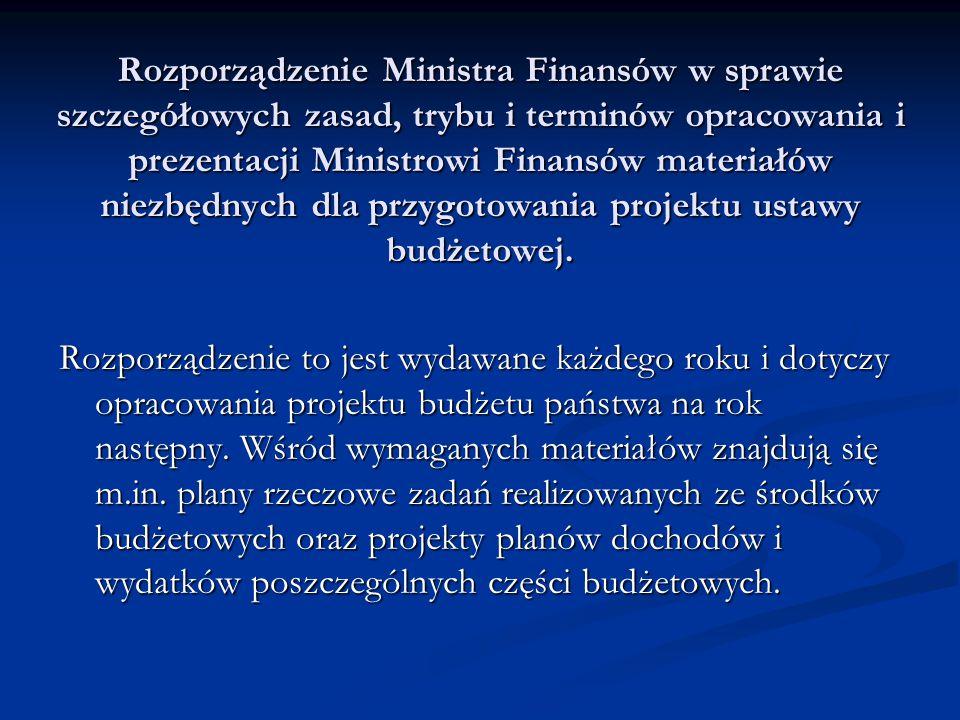 Rozporządzenie Ministra Finansów w sprawie szczegółowych zasad, trybu i terminów opracowania i prezentacji Ministrowi Finansów materiałów niezbędnych dla przygotowania projektu ustawy budżetowej.