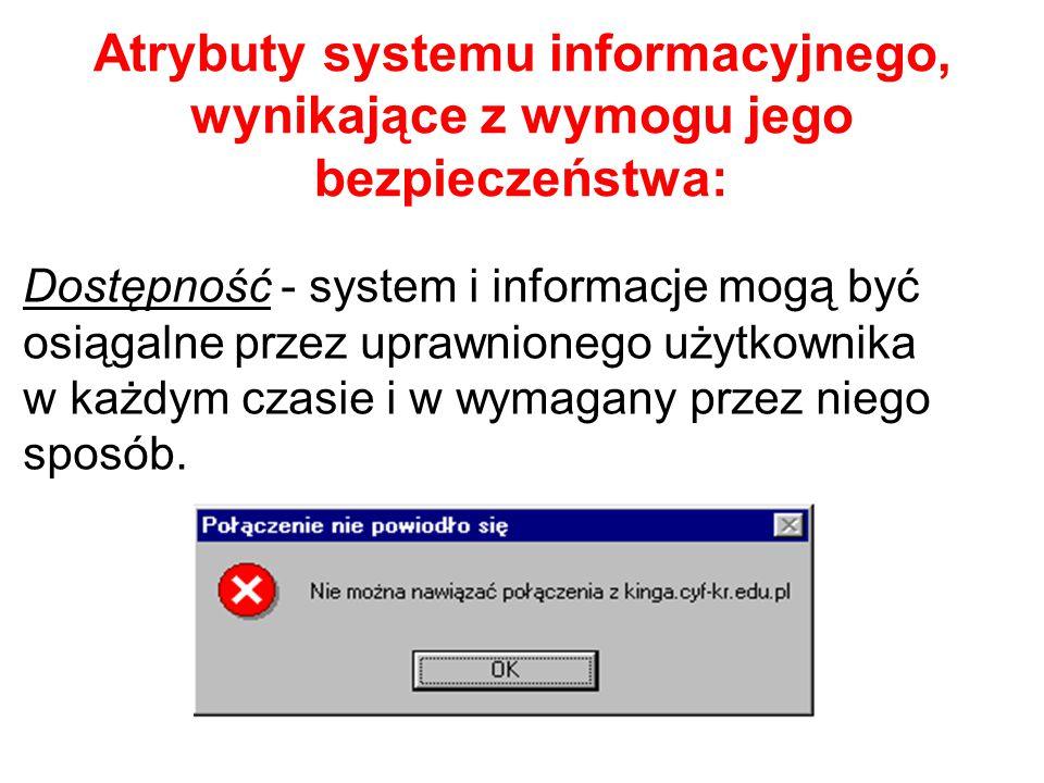 Atrybuty systemu informacyjnego, wynikające z wymogu jego bezpieczeństwa: