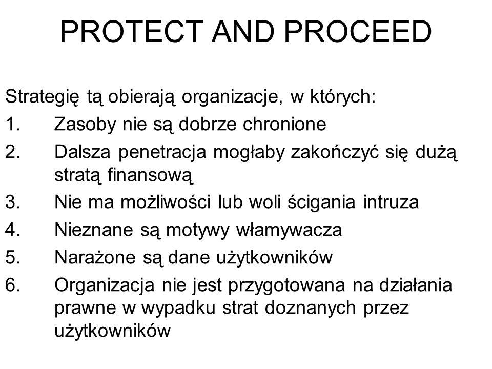 PROTECT AND PROCEED Strategię tą obierają organizacje, w których: