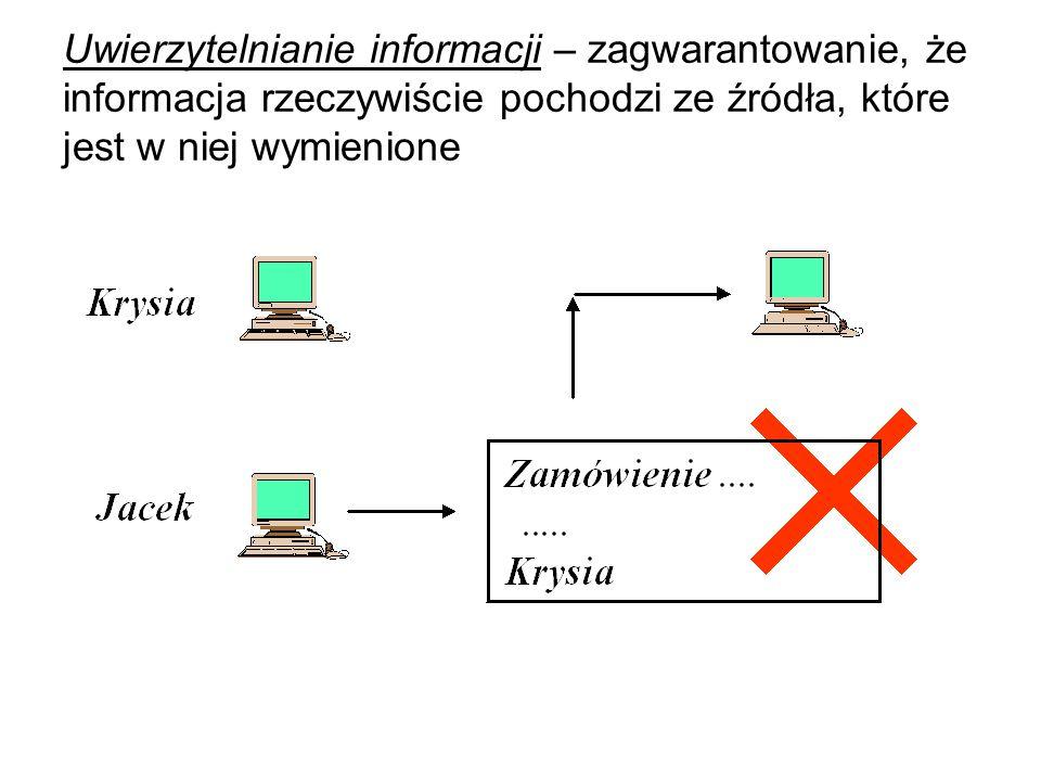Uwierzytelnianie informacji – zagwarantowanie, że informacja rzeczywiście pochodzi ze źródła, które jest w niej wymienione