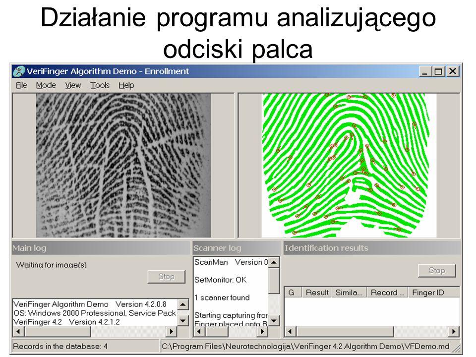 Działanie programu analizującego odciski palca