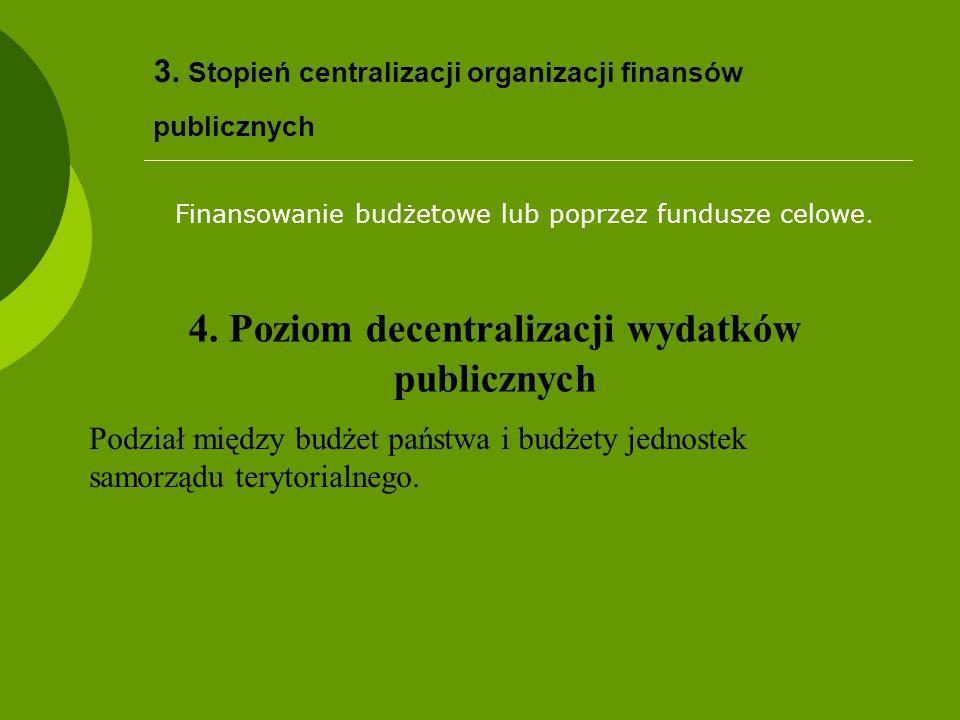 3. Stopień centralizacji organizacji finansów publicznych