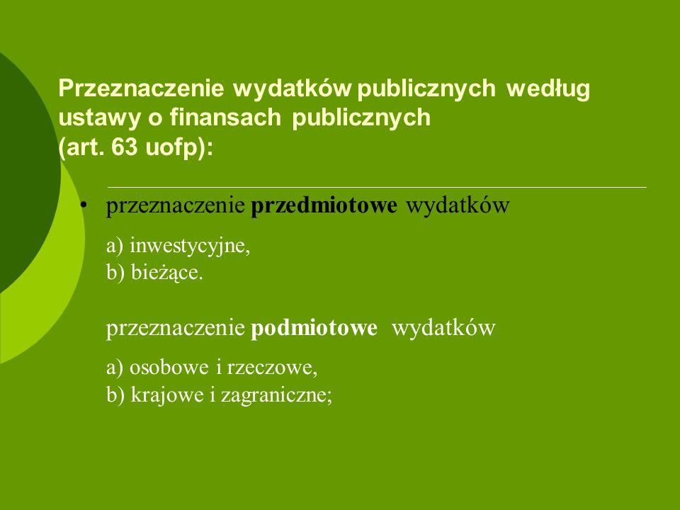 Przeznaczenie wydatków publicznych według ustawy o finansach publicznych (art. 63 uofp):