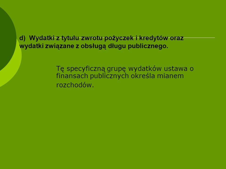 d) Wydatki z tytułu zwrotu pożyczek i kredytów oraz wydatki związane z obsługą długu publicznego.