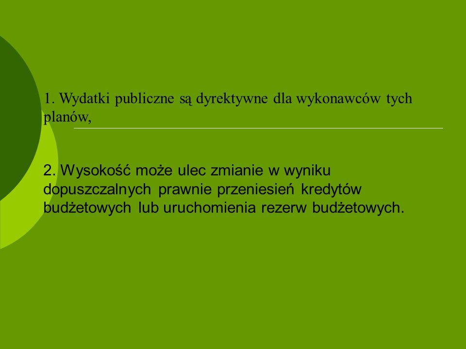 1. Wydatki publiczne są dyrektywne dla wykonawców tych planów,