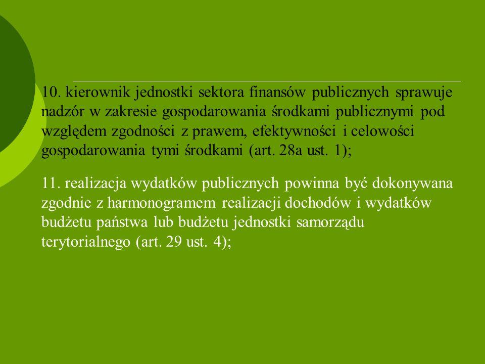 10. kierownik jednostki sektora finansów publicznych sprawuje nadzór w zakresie gospodarowania środkami publicznymi pod względem zgodności z prawem, efektywności i celowości gospodarowania tymi środkami (art. 28a ust. 1);